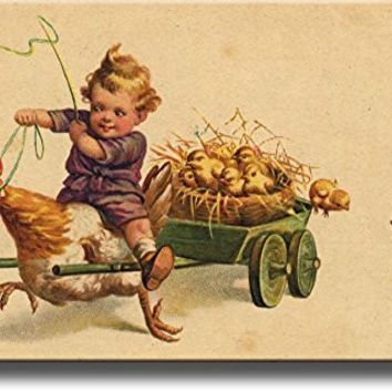 Boy Riding Chicken with Little Chicks Picture on Stretched Canvas, Wall Art Decor Ready to Hang!.