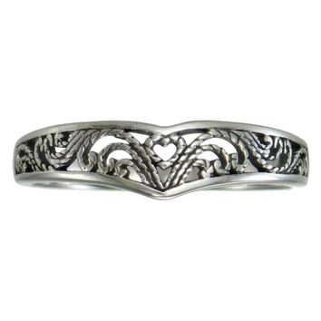 Elegant Sterling Silver Victorian Filigree Heart Ring (sz 4-15)