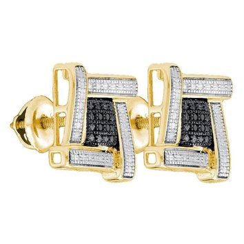 Yellow-tone Sterling Silver Men's Round Black Color Enhanced Diamond Square Cluster Earrings .03 Cttw - FREE Shipping (USA/CAN)