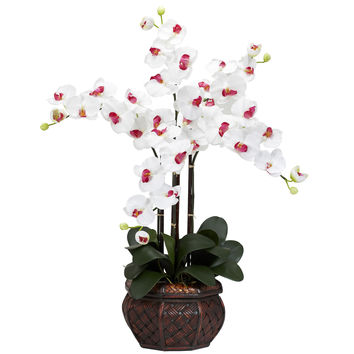 Phalaenopsis w/Decorative Vase Silk Flower Arrangement