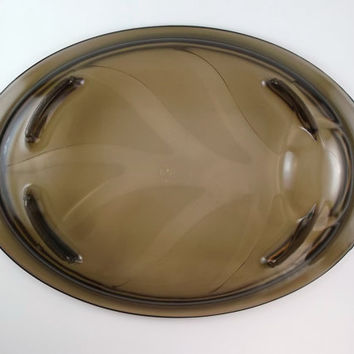 Vintage Pyrex Serving Platter Amber Smokey Plate Thanksgiving Christmas Serving Tray