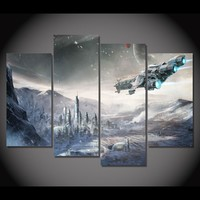 Star Wars Movie Wall Art 4 Panel Print Picture Poster on canvas Wall Decor