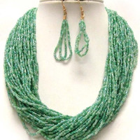 Thick Layered Seed Bead Mint Necklace/Earring Set