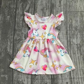 EXCLUSIVE new 2018 Summer dress rainbow unicorn star hreat short sleeve dress baby kids girls boutique maxi dress milk silk