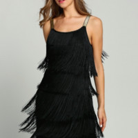 Women Straps Tassels Glam Gatsby Fringe Flapper Costume Party Dresses