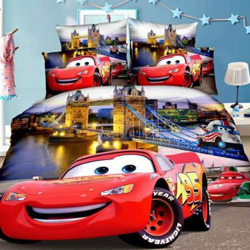 Disney McQueen Cars Bedding Set Duvet Covers Single Twin Size Bedroom Decoration Boy Children's Babies Bed 2/3/4 Pieces Blue Red