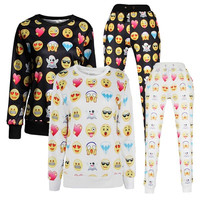 2015 New Women/Men 3D print emoji sweatshirt Joggers Set Pullovers Character Hoodies and Pants black Emoji Outfit = 1932423748