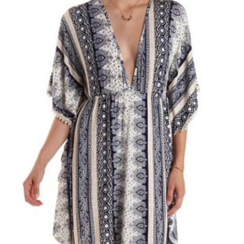 Crochet-Trim Deep V Printed Kaftan Dress