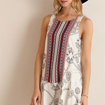 Vintage Print Sleeveless Dress