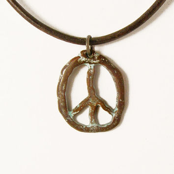 Peace Sign Necklace, Copper Peace Pendant, Green Patina Necklace, Leather Necklace