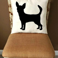 Chihuahua Dog Silhouette Throw Pillow #2/ Decorative Pillow/ Home Decor/ Pets/ Dog Pillow/Dorm Decor/Sofa Pillow **FREE SHIPPING**