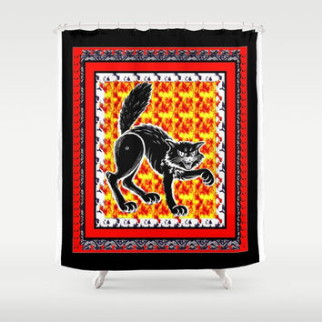 scary cat ( Halloween) Shower Curtain by Kathead Tarot/David Rivera