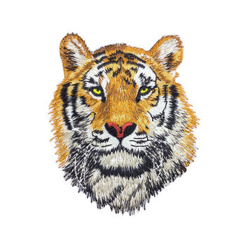 Tiger head Patch Full embroidered Animal Iron On Patches