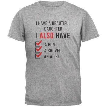 ESBGQ9 Father's Day I Have a Beautiful Daughter Heather Grey Adult T-Shirt