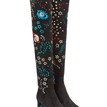 Valentino - Embroidered Over-Knee Suede Boots