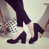 2016 Brand Fashion Shoes Woman High Heels Pumps Square Heel Women's Shoes Pointed Toe High Heels Wedding Shoes Women