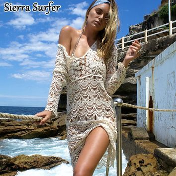 Bathing Suit Cover Ups Pareo Beach Wear Swim Up Sexy Cotton Hollow Long Sleeve Robe De Plage Tunique Drap Badpak Jurk