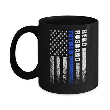 Police Thin Blue Line Husband Daddy Hero Fathers Day Gift Mug