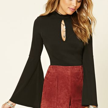 Bell-Sleeved Crop Top