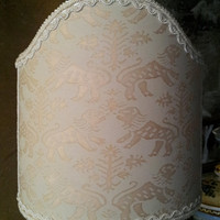 Clip-On Shield Shade Fortuny Fabric Monotones Richelieu Pattern Mini Lampshade - Handmade in Italy