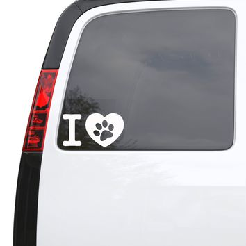 "Auto Car Sticker Decal Pet Love Paw Print Heart Truck Laptop Window 9"" by 5"" Unique Gift ig254c"