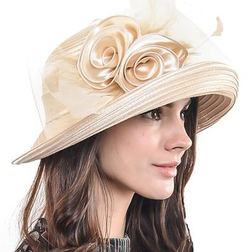 HISSHE Women Kentucky Derby Tea Party Hat Elegant Female Floral And Feather Church Wedding Dress Hat  Summer Hat