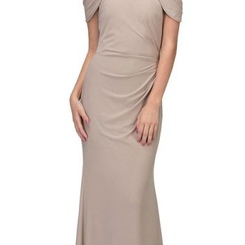Beige Cold-Shoulder Floor Length Formal Dress Ruched