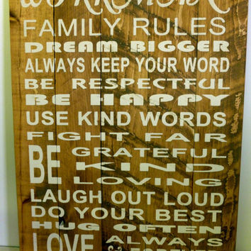 Family Rules Sign Rustic Sign Vintage Sign Custom Sign Wall Art Home Decor Shabby Chic