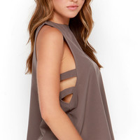 Midnight Meandering Taupe Sleeveless Top