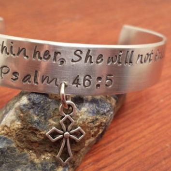 Hand stamped aluminum bible verse cuff Psalm 46:5 with a charm