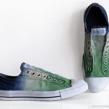 Ombré dip dye Converse, fern green, navy blue, slip-on sneakers, tie dye, transformed vintage shoes, size EU 42.5 (UK 9, Mens 9, US Wo's 11)