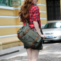 "17"" Laptop Army Green Leather & Canvas Messenger Bag $74.99"