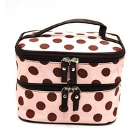 Leegoal Double Layer Cosmetic Bag Pink with Coffee Dot Travel Toiletry Cosmetic Makeup Bag Organizer With Mirror