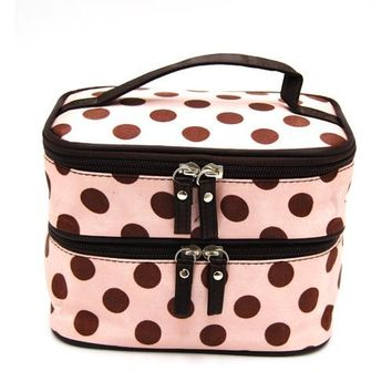 Wowlife Double Layer Cosmetic Tote Bags Travel Toiletry Cosmetic Makeup Bag Cases Organizer with Mirror Pink with Coffee Dot