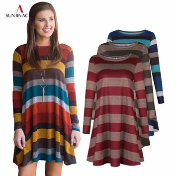SUNJINACRO Casual Striped Dress O Neck Women Long T Shirt Top Tee Boho Vestido Autumn Style Beach Wear Preppy Dresses