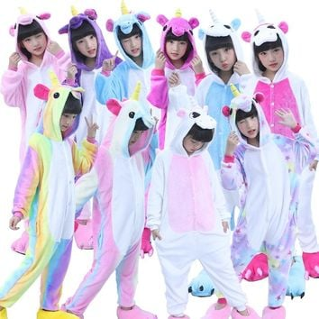 Animal Cosplay Oneise Children Kids Flannel Anime Cartoon Costumes Sleepwear Cosplay Winter Warm Onesuit Unicorn Panda Stitch