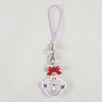 Moogle, final fantasy, donut, food, dessert, phone charm, cute, kawaii, anime, zipper charm, keychain, acrylic charm, purple