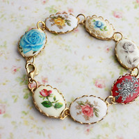 Vintage Rose Cameo Bracelet. Bohemian. Wedding. Nostalgic. Whimsical. Autumn. Fall. Boho Chic. Fashion. Romance. Bridesmaids Bracelet.