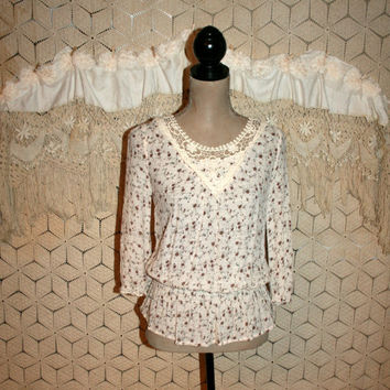 Shabby Boho Top Brown Floral Blouse Gauze Hippie Top Peasant Top Lace Boho Clothing Hippie Clothing Casual Fall Tops Small Womens Clothing