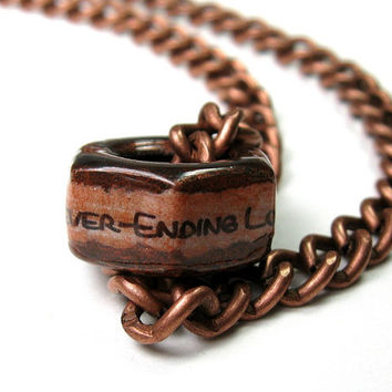 I've Got A Never-Ending Love For You, Copper, Hex Nut Necklace, Industrial Chic, Romantic, Sweet, True Love, Gifts for Him, Metal, For Dudes