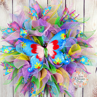Spring Summer Deco Mesh Butterfly Wreath - Deco Mesh Butterfly Wreath - Spring Mesh Wreath - Summer Mesh Wreath - Pastels Deco Mesh Wreath