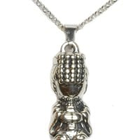 Life in Joy, Cute Happy Buddha Sterling Silver Amulet Necklace- Fortune Buddhist Jewelry