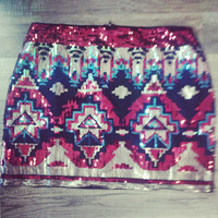 Sequin Aztec Skirt - Red