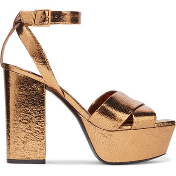 Saint Laurent - Farrah metallic cracked-leather platform sandals