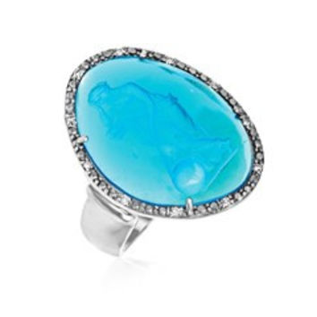 RICHARD CANNON Blue Venetian Glass Cameo Ring in Sterling Silver