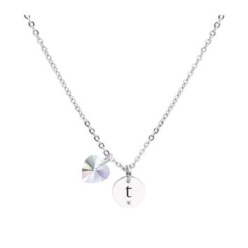 Dainty Initial Necklace made with Crystals from Swarovski  - T