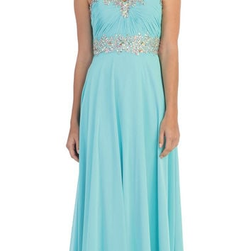 Starbox USA L6079 Jeweled Ruched Bodice Tiffany Blue Strapless Chiffon A-Line Dress