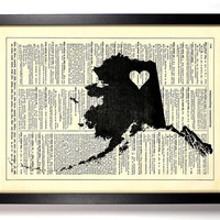 Alaska State Dictionary Book Print Upcycled Book Art Upcycled Vintage Book Print Antique Dictionary Buy 2 Get 1 FREE
