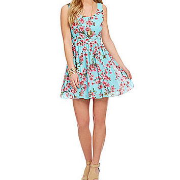 B. Darlin Cherry Blossom-Print Sleeveless Dress - Aqua/Fuchsia/Pink