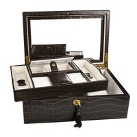 Ikee Design Luxury Jewelry Leatherette Jewelry Lockable Box. Espresso Brown Crocodile Pattern   Overstock.com Shopping - The Best Deals on Jewelry Boxes